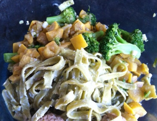 goat cheese pasta with squash and broccoli